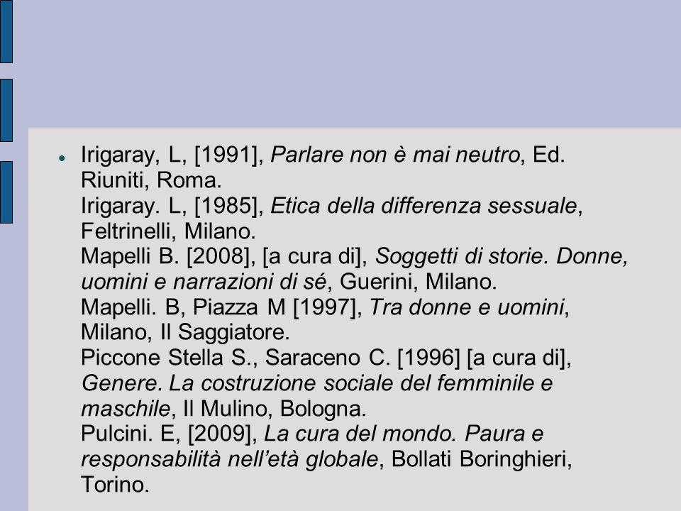 Irigaray, L, [1991], Parlare non è mai neutro, Ed. Riuniti, Roma. Irigaray. L, [1985], Etica della differenza sessuale, Feltrinelli, Milano. Mapelli B