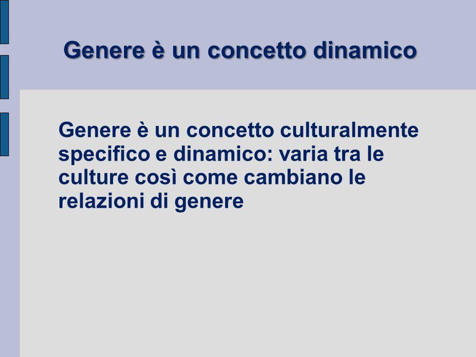Genere è un concetto culturalmente specifico e dinamico: varia tra le culture così come cambiano le relazioni di genere Genere è un concetto dinamico