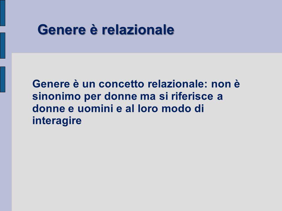 Genere è un concetto relazionale: non è sinonimo per donne ma si riferisce a donne e uomini e al loro modo di interagire Genere è relazionale