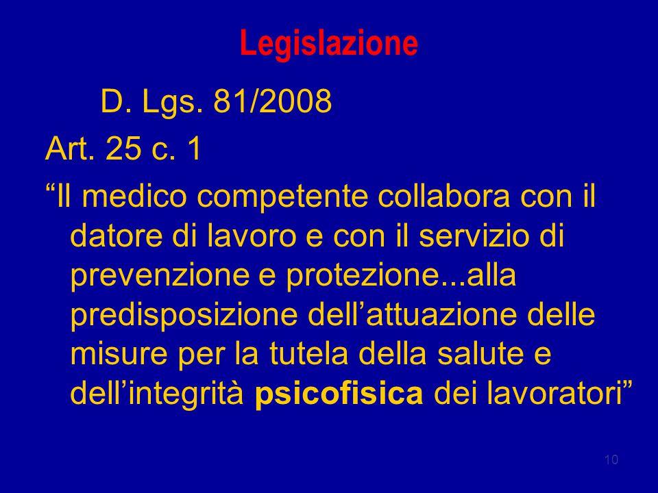 """10 Legislazione D. Lgs. 81/2008 Art. 25 c. 1 """"Il medico competente collabora con il datore di lavoro e con il servizio di prevenzione e protezione...a"""