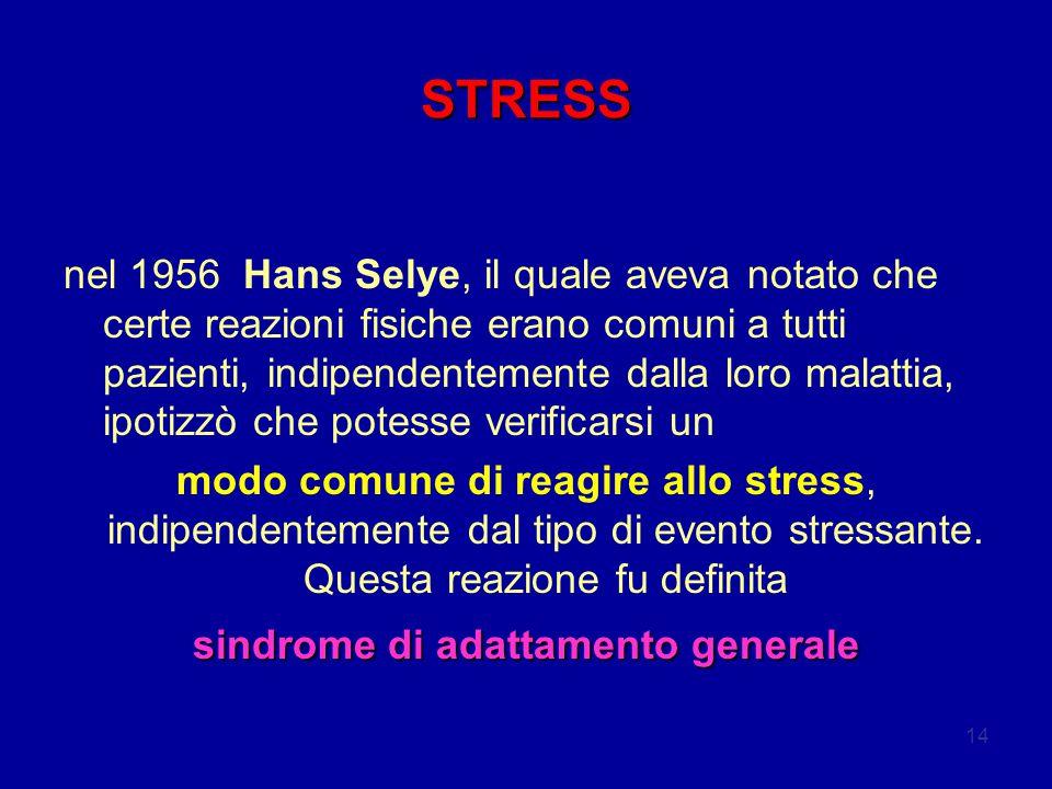 14 STRESS nel 1956 Hans Selye, il quale aveva notato che certe reazioni fisiche erano comuni a tutti pazienti, indipendentemente dalla loro malattia, ipotizzò che potesse verificarsi un modo comune di reagire allo stress, indipendentemente dal tipo di evento stressante.
