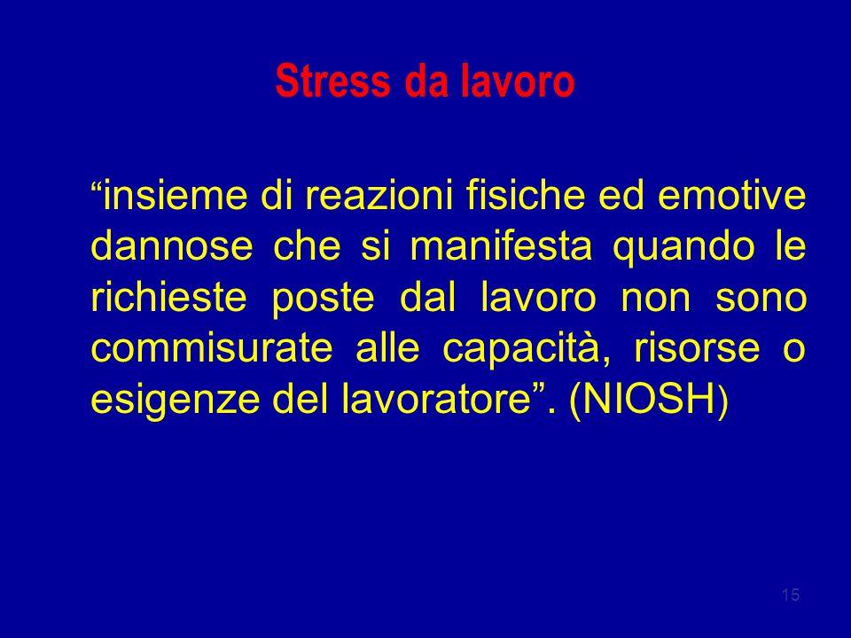 15 Stress da lavoro insieme di reazioni fisiche ed emotive dannose che si manifesta quando le richieste poste dal lavoro non sono commisurate alle capacità, risorse o esigenze del lavoratore .