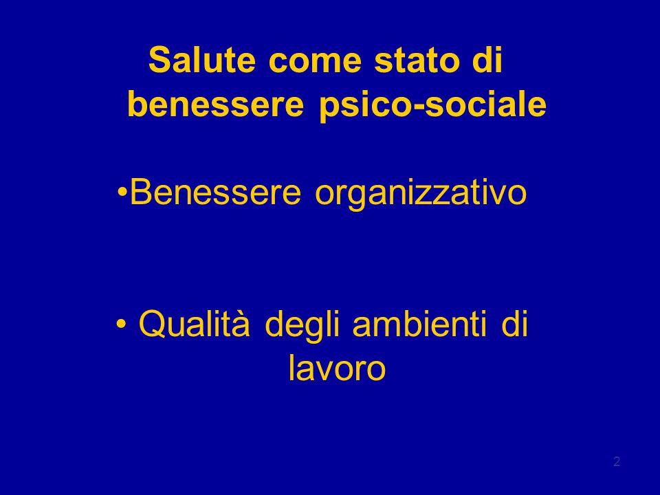 2 Salute come stato di benessere psico-sociale Benessere organizzativo Qualità degli ambienti di lavoro