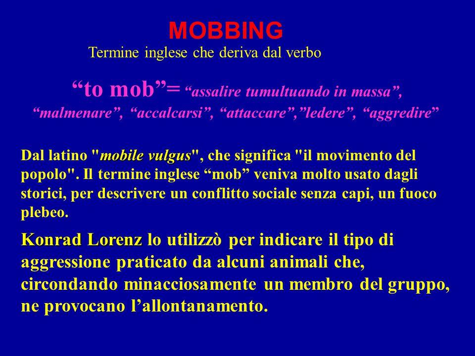 MOBBING to mob = assalire tumultuando in massa , malmenare , accalcarsi , attaccare , ledere , aggredire mobile vulgus Dal latino mobile vulgus , che significa il movimento del popolo .
