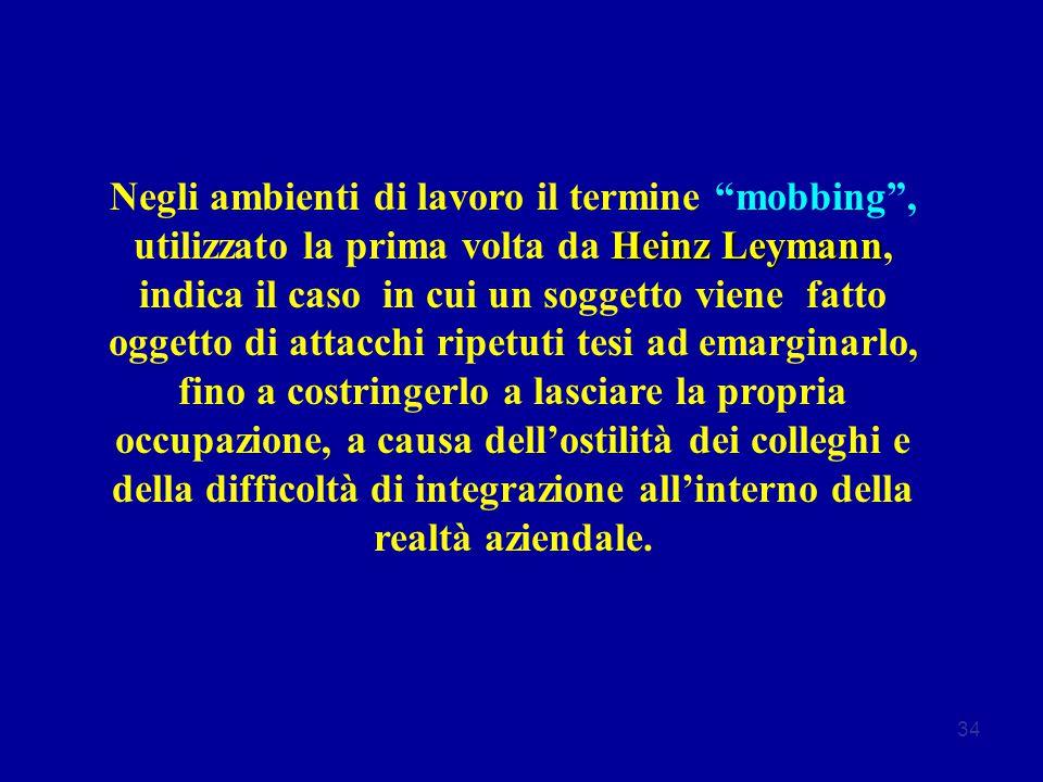 34 Heinz Leymann Negli ambienti di lavoro il termine mobbing , utilizzato la prima volta da Heinz Leymann, indica il caso in cui un soggetto viene fatto oggetto di attacchi ripetuti tesi ad emarginarlo, fino a costringerlo a lasciare la propria occupazione, a causa dell'ostilità dei colleghi e della difficoltà di integrazione all'interno della realtà aziendale.