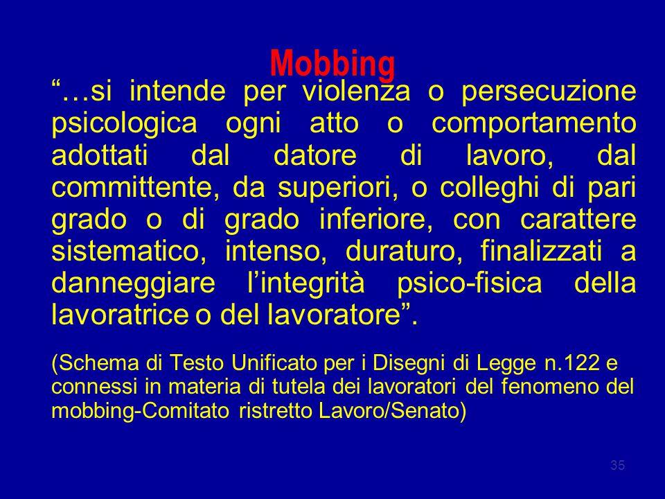"""35 Mobbing """"…si intende per violenza o persecuzione psicologica ogni atto o comportamento adottati dal datore di lavoro, dal committente, da superiori"""