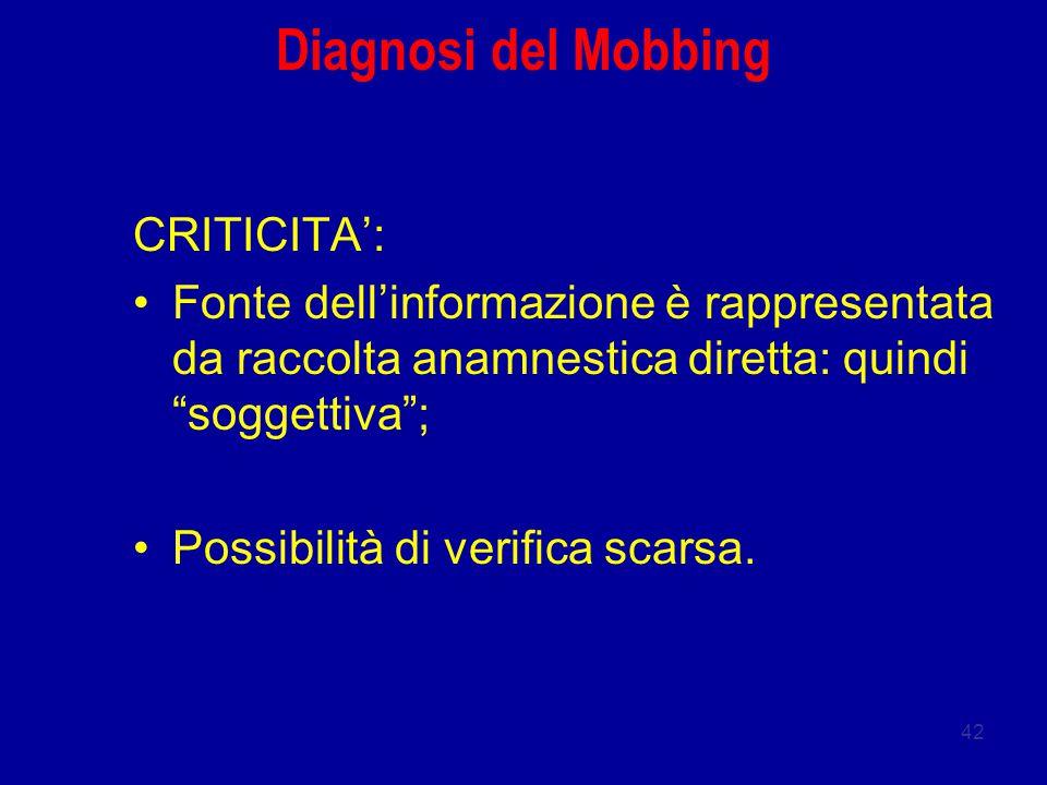 42 Diagnosi del Mobbing CRITICITA': Fonte dell'informazione è rappresentata da raccolta anamnestica diretta: quindi soggettiva ; Possibilità di verifica scarsa.
