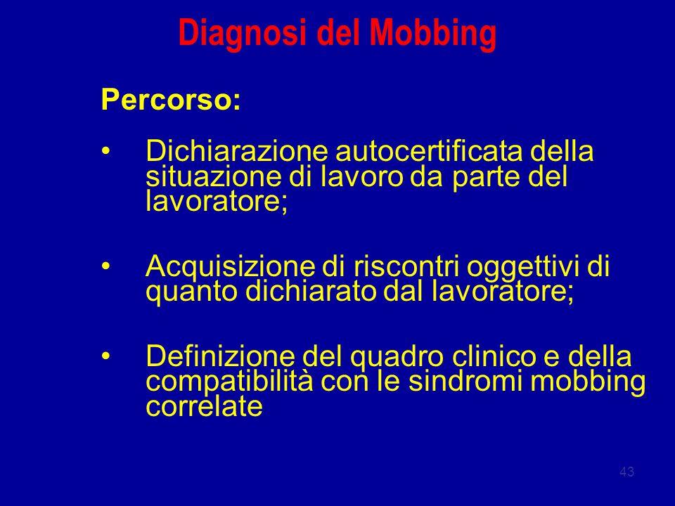 43 Diagnosi del Mobbing Percorso: Dichiarazione autocertificata della situazione di lavoro da parte del lavoratore; Acquisizione di riscontri oggettivi di quanto dichiarato dal lavoratore; Definizione del quadro clinico e della compatibilità con le sindromi mobbing correlate