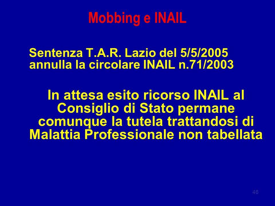46 Mobbing e INAIL Sentenza T.A.R. Lazio del 5/5/2005 annulla la circolare INAIL n.71/2003 In attesa esito ricorso INAIL al Consiglio di Stato permane