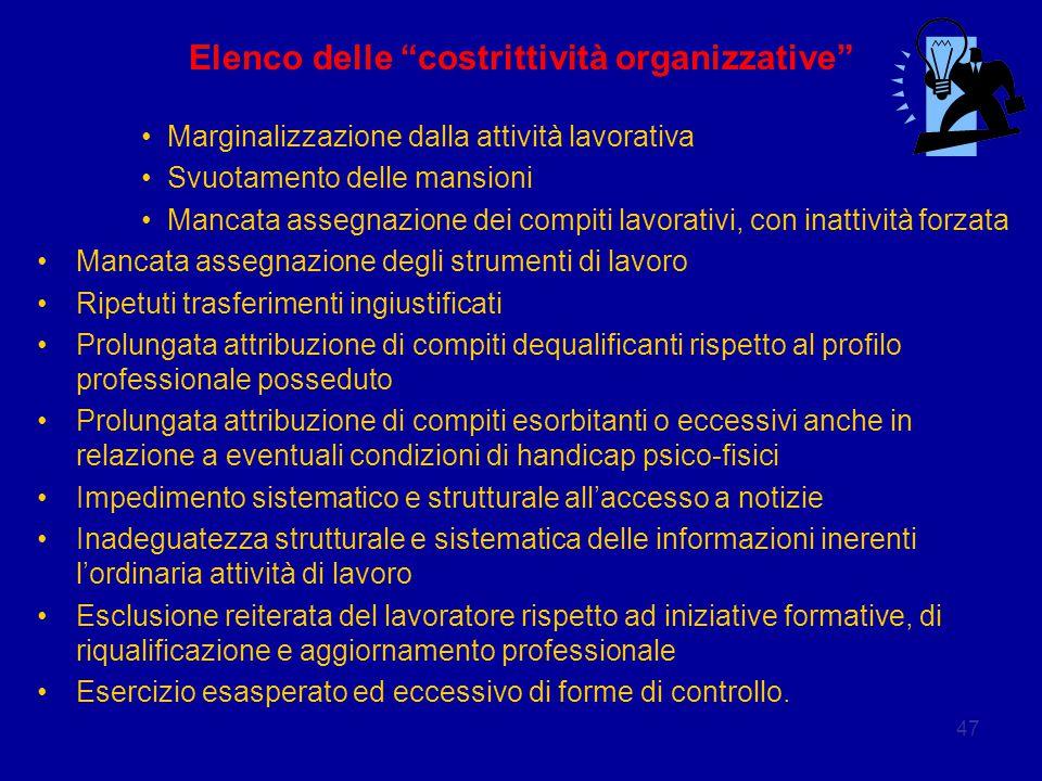 """47 Elenco delle """"costrittività organizzative"""" Marginalizzazione dalla attività lavorativa Svuotamento delle mansioni Mancata assegnazione dei compiti"""