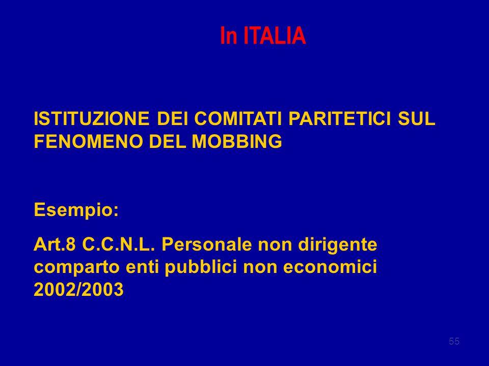 55 In ITALIA ISTITUZIONE DEI COMITATI PARITETICI SUL FENOMENO DEL MOBBING Esempio: Art.8 C.C.N.L. Personale non dirigente comparto enti pubblici non e
