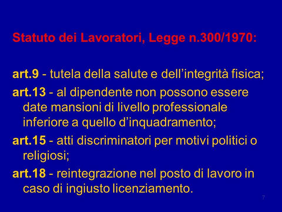 7 Legislazione Statuto dei Lavoratori, Legge n.300/1970: art.9 - tutela della salute e dell'integrità fisica; art.13 - al dipendente non possono esser
