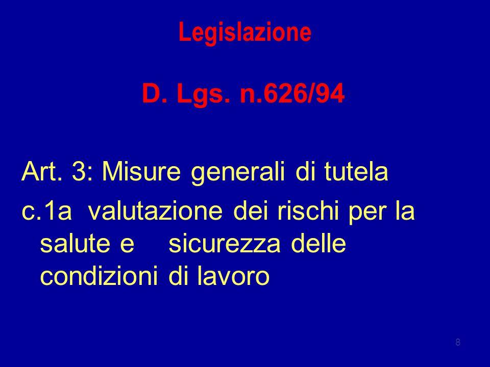 8 Legislazione D. Lgs. n.626/94 Art. 3: Misure generali di tutela c.1a valutazione dei rischi per la salute e sicurezza delle condizioni di lavoro