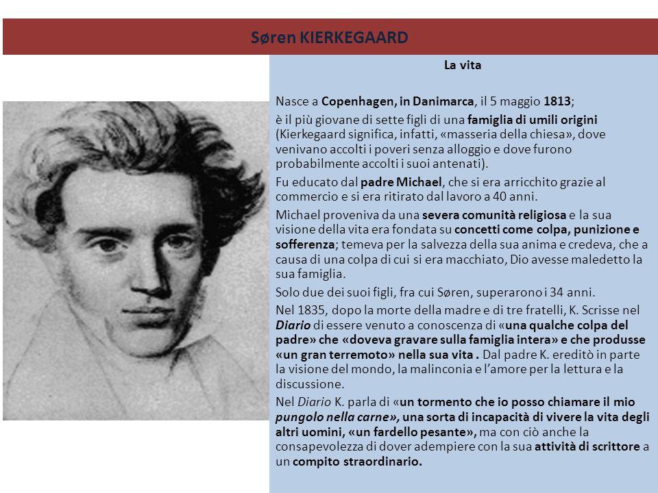 Søren KIERKEGAARD La vita Nasce a Copenhagen, in Danimarca, il 5 maggio 1813; è il più giovane di sette figli di una famiglia di umili origini (Kierke