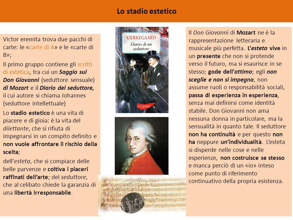 Lo stadio estetico Victor eremita trova due pacchi di carte: le «carte di A» e le «carte di B»; Il primo gruppo contiene gli scritti di estetica, tra