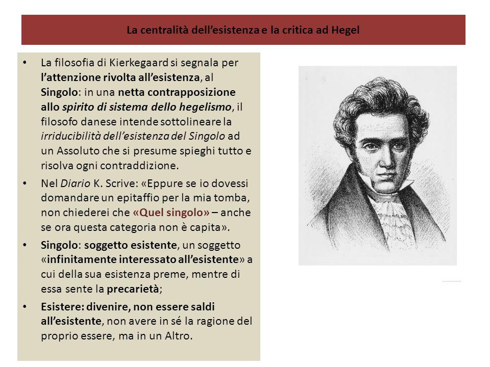 La centralità dell'esistenza e la critica ad Hegel La filosofia di Kierkegaard si segnala per l'attenzione rivolta all'esistenza, al Singolo: in una n