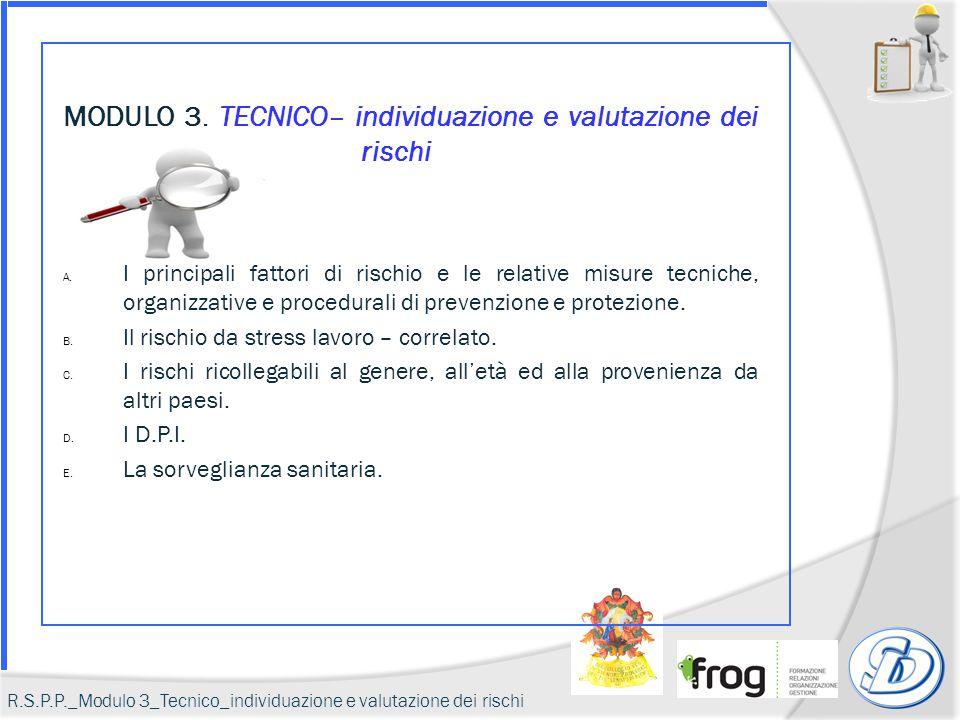 Lo stress lavoro correlato R.S.P.P._Modulo 3_Tecnico_individuazione e valutazione dei rischi_B