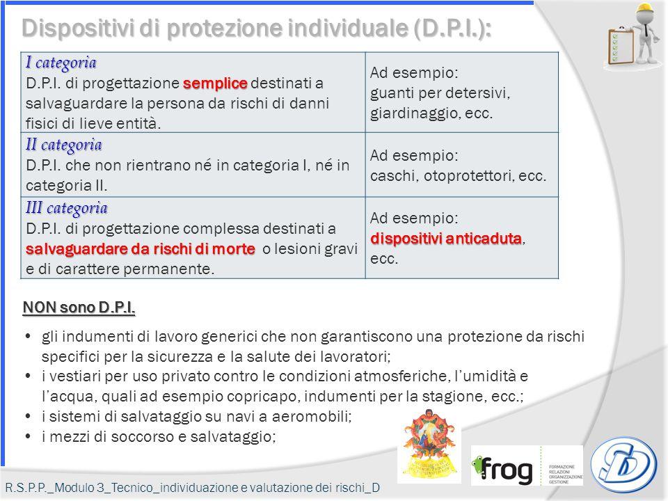 I categoria semplice D.P.I. di progettazione semplice destinati a salvaguardare la persona da rischi di danni fisici di lieve entità. Ad esempio: guan