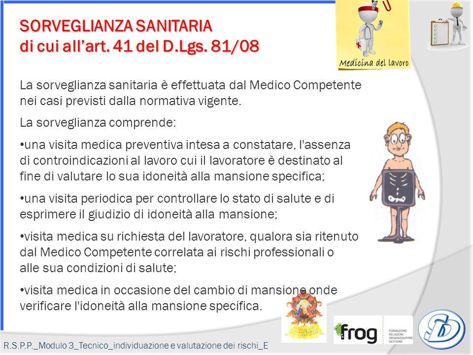 SORVEGLIANZA SANITARIA di cui all'art. 41 del D.Lgs. 81/08 La sorveglianza sanitaria è effettuata dal Medico Competente nei casi previsti dalla normat