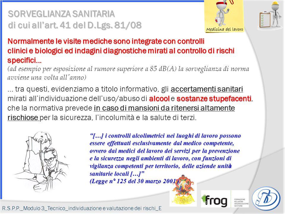 SORVEGLIANZA SANITARIA di cui all'art. 41 del D.Lgs. 81/08 Normalmente le visite mediche sono integrate con controlli clinici e biologici ed indagini