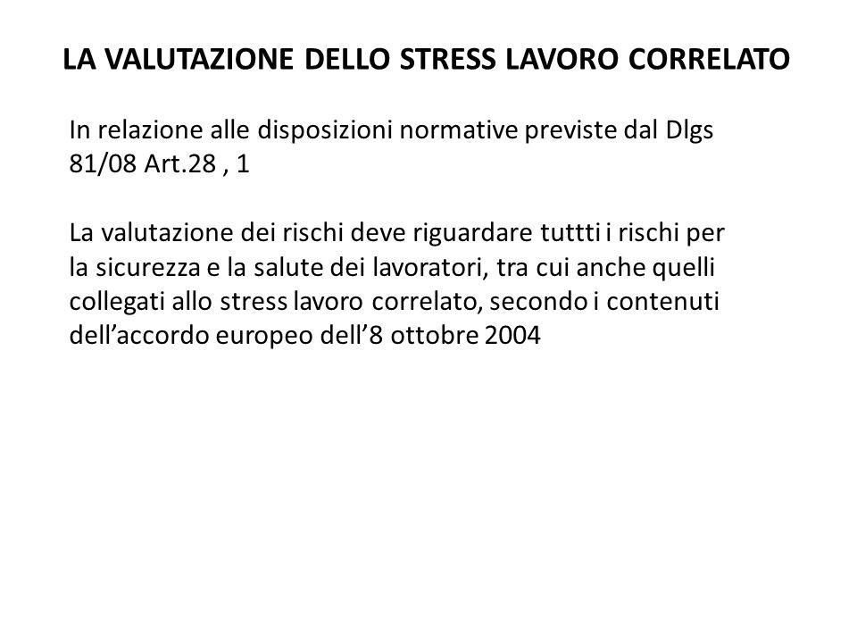 LA VALUTAZIONE DELLO STRESS LAVORO CORRELATO In relazione alle disposizioni normative previste dal Dlgs 81/08 Art.28, 1 La valutazione dei rischi deve