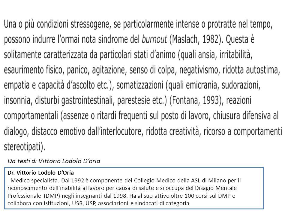 Da testi di Vittorio Lodolo D'oria Dr. Vittorio Lodolo D'Oria Medico specialista. Dal 1992 è componente del Collegio Medico della ASL di Milano per il