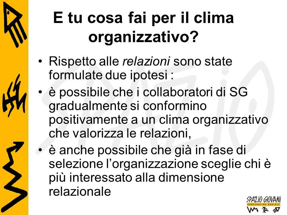 E tu cosa fai per il clima organizzativo? Rispetto alle relazioni sono state formulate due ipotesi : è possibile che i collaboratori di SG gradualment