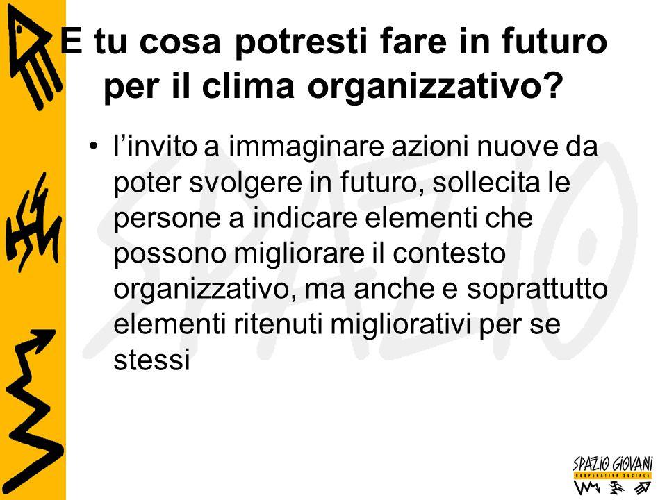 E tu cosa potresti fare in futuro per il clima organizzativo? l'invito a immaginare azioni nuove da poter svolgere in futuro, sollecita le persone a i