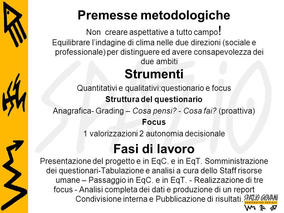 Premesse metodologiche Non creare aspettative a tutto campo ! Equilibrare l'indagine di clima nelle due direzioni (sociale e professionale) per distin