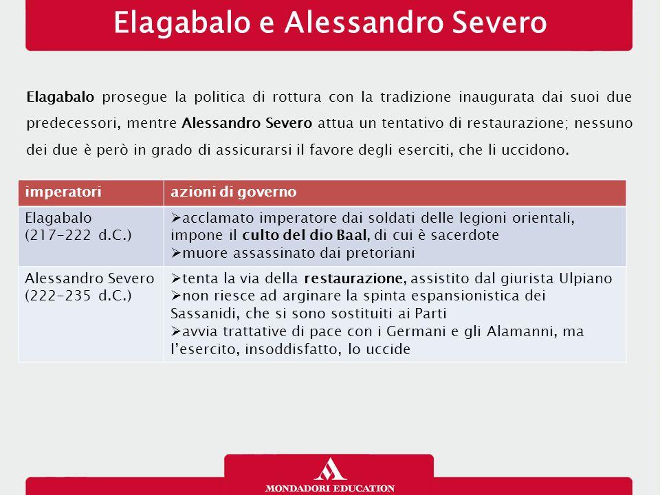Elagabalo e Alessandro Severo Elagabalo prosegue la politica di rottura con la tradizione inaugurata dai suoi due predecessori, mentre Alessandro Seve