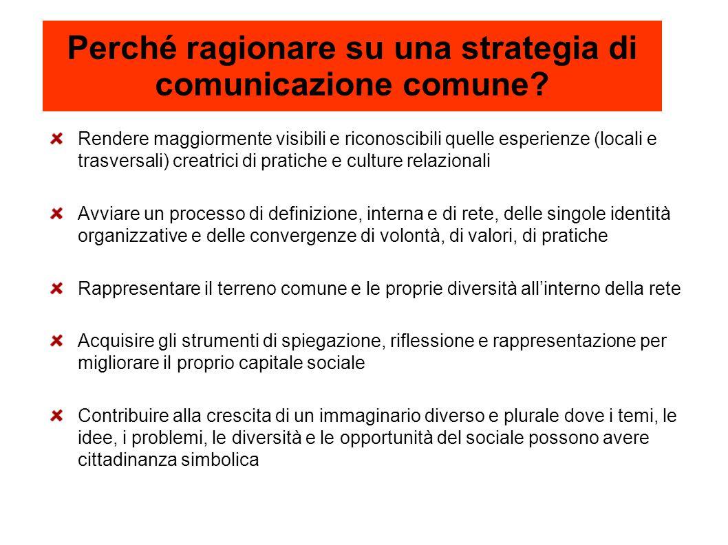 Perché ragionare su una strategia di comunicazione comune? Rendere maggiormente visibili e riconoscibili quelle esperienze (locali e trasversali) crea