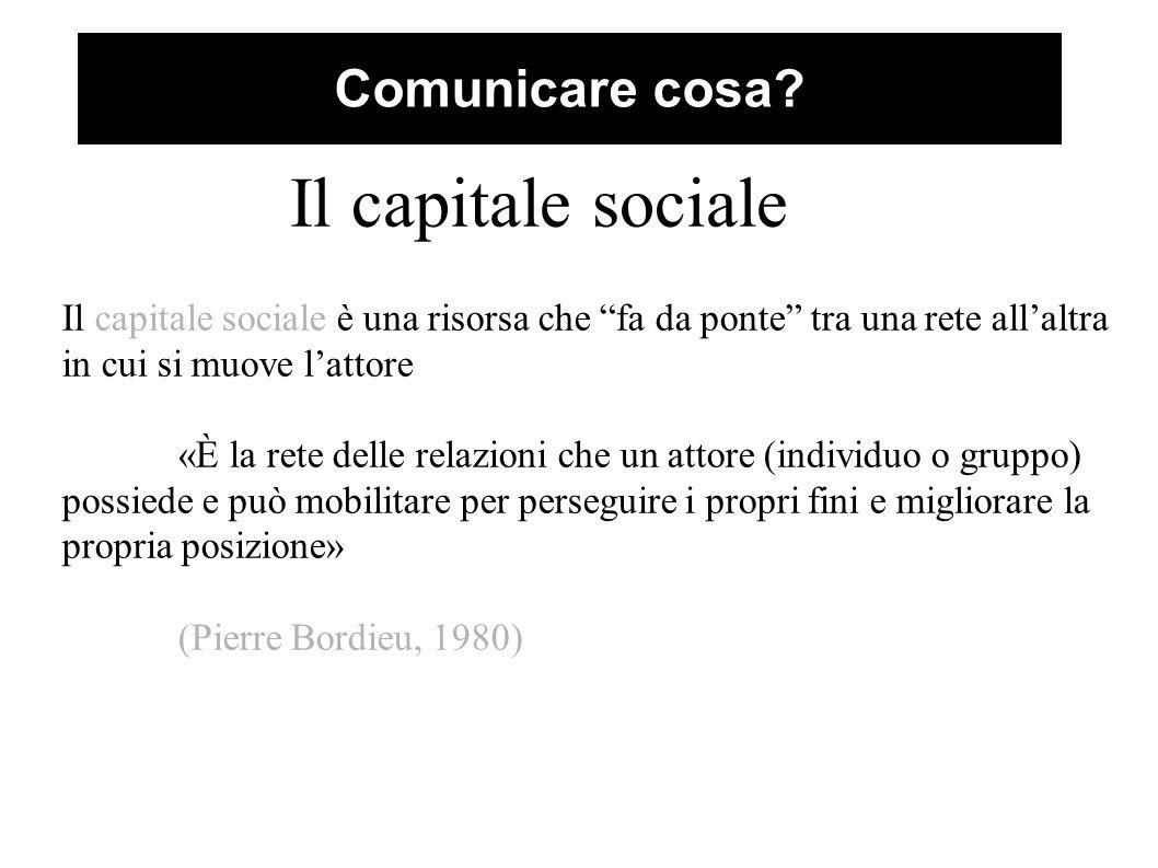"""Comunicare cosa? Il capitale sociale Il capitale sociale è una risorsa che """"fa da ponte"""" tra una rete all'altra in cui si muove l'attore «È la rete de"""