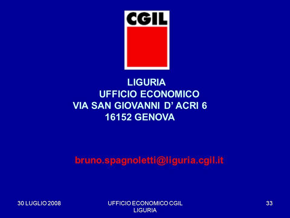 30 LUGLIO 2008UFFICIO ECONOMICO CGIL LIGURIA 33 LIGURIA UFFICIO ECONOMICO VIA SAN GIOVANNI D' ACRI 6 16152 GENOVA bruno.spagnoletti@liguria.cgil.it
