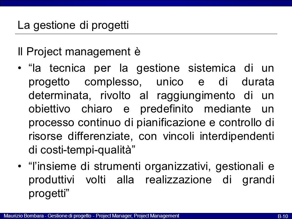 """Maurizio Bombara - Gestione di progetto - Project Manager, Project Management B-10 La gestione di progetti Il Project management è """"la tecnica per la"""