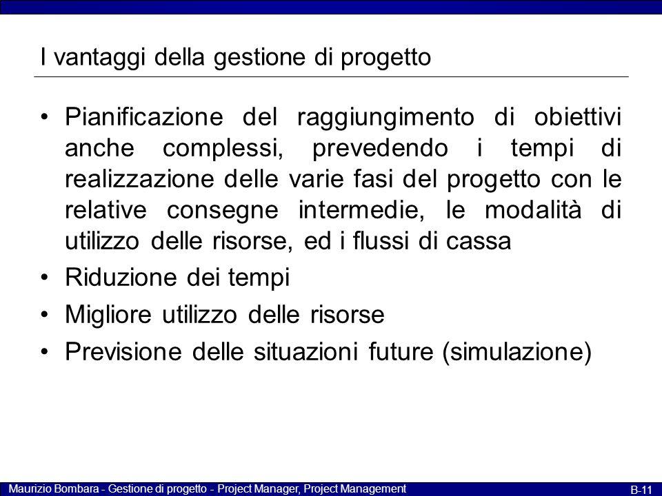 Maurizio Bombara - Gestione di progetto - Project Manager, Project Management B-11 I vantaggi della gestione di progetto Pianificazione del raggiungim