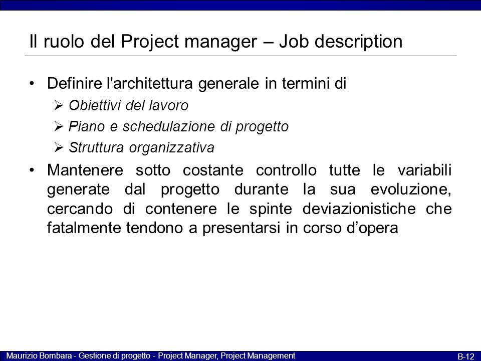 Maurizio Bombara - Gestione di progetto - Project Manager, Project Management B-12 Il ruolo del Project manager – Job description Definire l'architett
