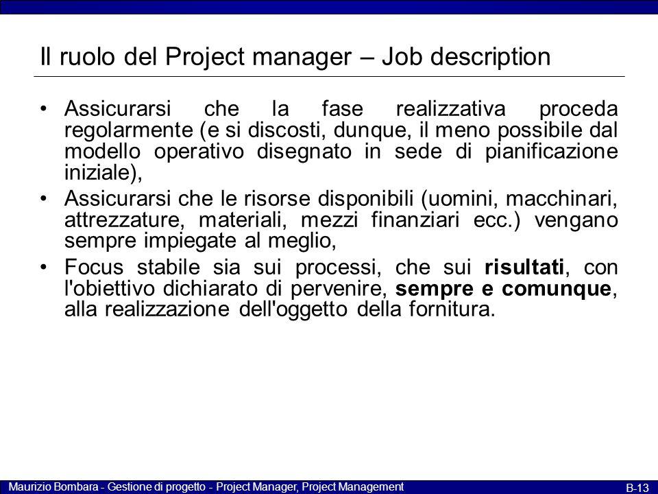 Maurizio Bombara - Gestione di progetto - Project Manager, Project Management B-13 Il ruolo del Project manager – Job description Assicurarsi che la f