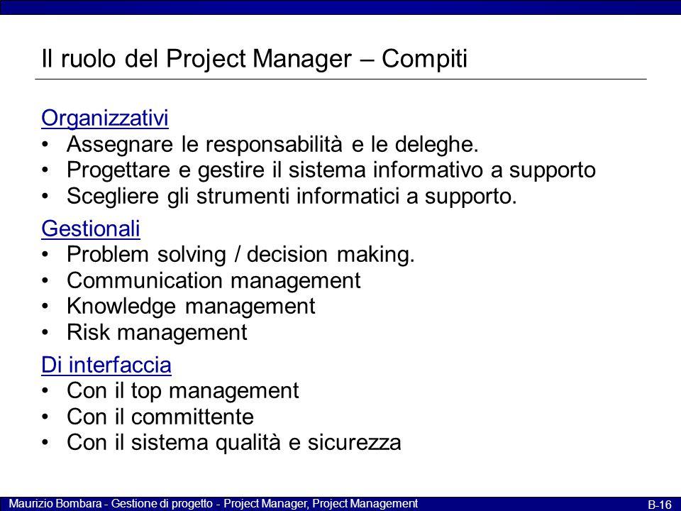 Maurizio Bombara - Gestione di progetto - Project Manager, Project Management B-16 Il ruolo del Project Manager – Compiti Organizzativi Assegnare le r