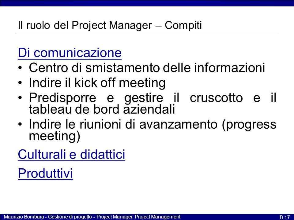 Maurizio Bombara - Gestione di progetto - Project Manager, Project Management B-17 Il ruolo del Project Manager – Compiti Di comunicazione Centro di s