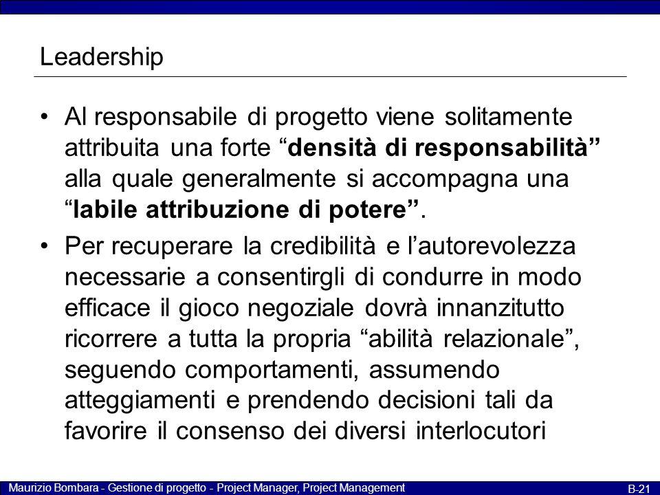 Maurizio Bombara - Gestione di progetto - Project Manager, Project Management B-21 Leadership Al responsabile di progetto viene solitamente attribuita