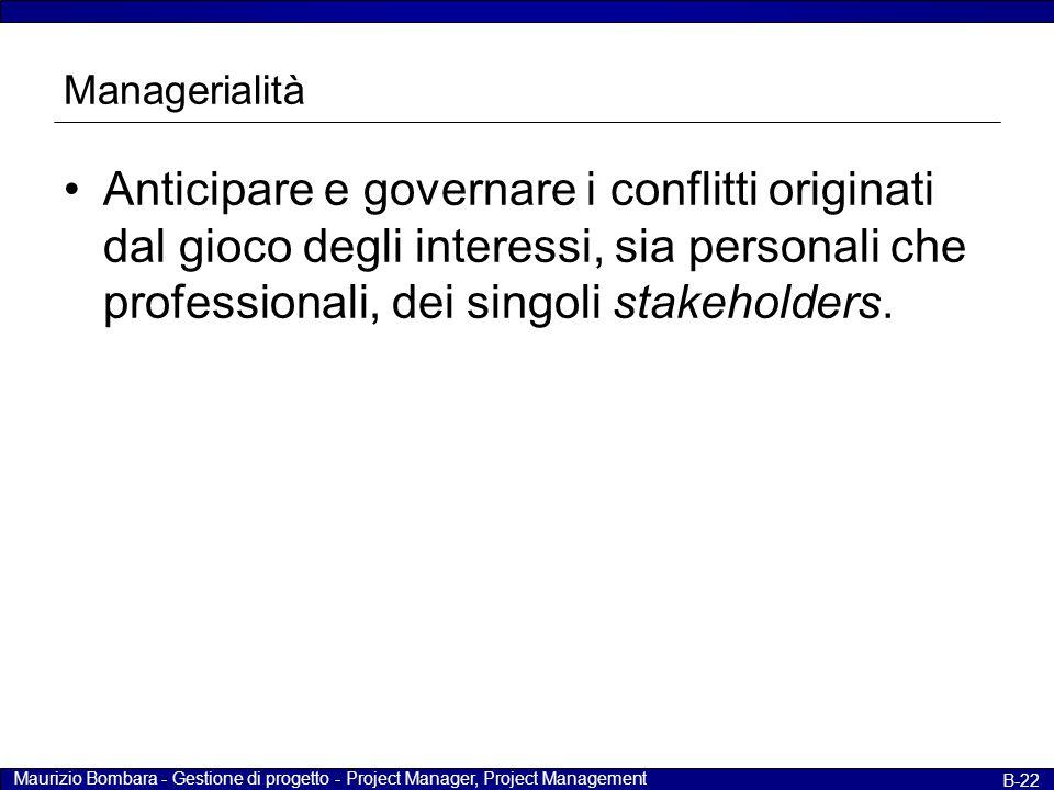 Maurizio Bombara - Gestione di progetto - Project Manager, Project Management B-22 Managerialità Anticipare e governare i conflitti originati dal gioc
