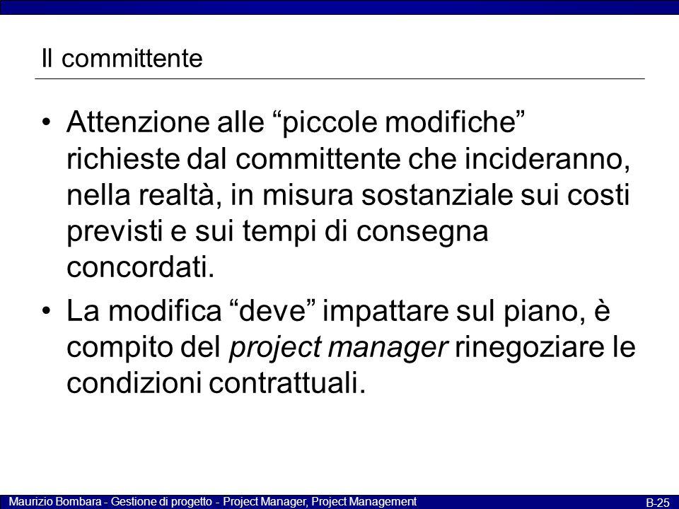 """Maurizio Bombara - Gestione di progetto - Project Manager, Project Management B-25 Il committente Attenzione alle """"piccole modifiche"""" richieste dal co"""