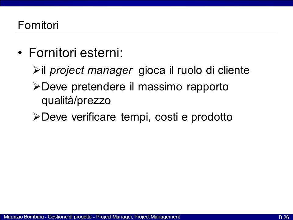 Maurizio Bombara - Gestione di progetto - Project Manager, Project Management B-26 Fornitori Fornitori esterni:  il project manager gioca il ruolo di