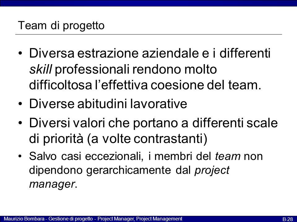 Maurizio Bombara - Gestione di progetto - Project Manager, Project Management B-28 Team di progetto Diversa estrazione aziendale e i differenti skill