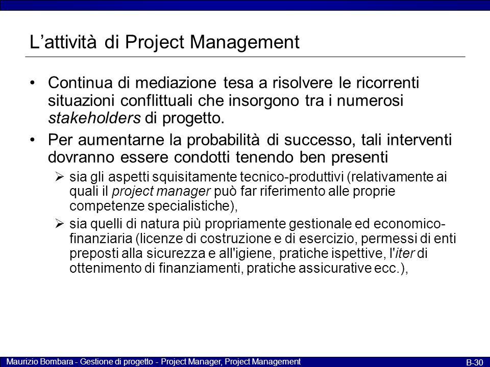 Maurizio Bombara - Gestione di progetto - Project Manager, Project Management B-30 L'attività di Project Management Continua di mediazione tesa a riso