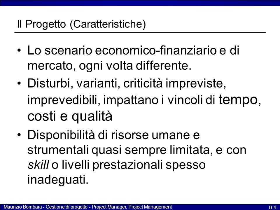 Maurizio Bombara - Gestione di progetto - Project Manager, Project Management B-15 Il ruolo del Project Manager – Fasi In fase di controllo Valutare lo stato di avanzamento fisico del progetto.