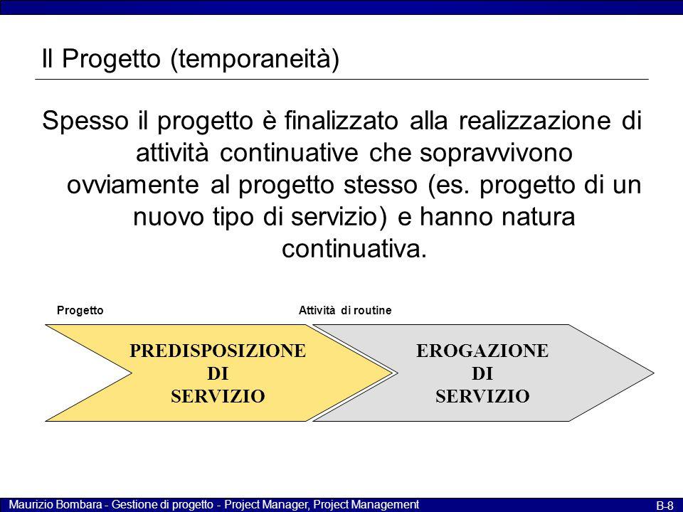 Maurizio Bombara - Gestione di progetto - Project Manager, Project Management B-8 Il Progetto (temporaneità) Spesso il progetto è finalizzato alla rea