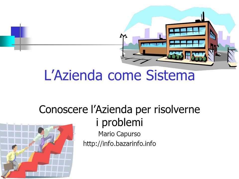 L'Azienda come Sistema Conoscere l'Azienda per risolverne i problemi Mario Capurso http://info.bazarinfo.info
