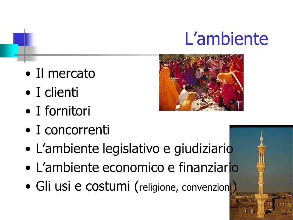 L'ambiente Il mercato I clienti I fornitori I concorrenti L'ambiente legislativo e giudiziario L'ambiente economico e finanziario Gli usi e costumi ( religione, convenzioni )