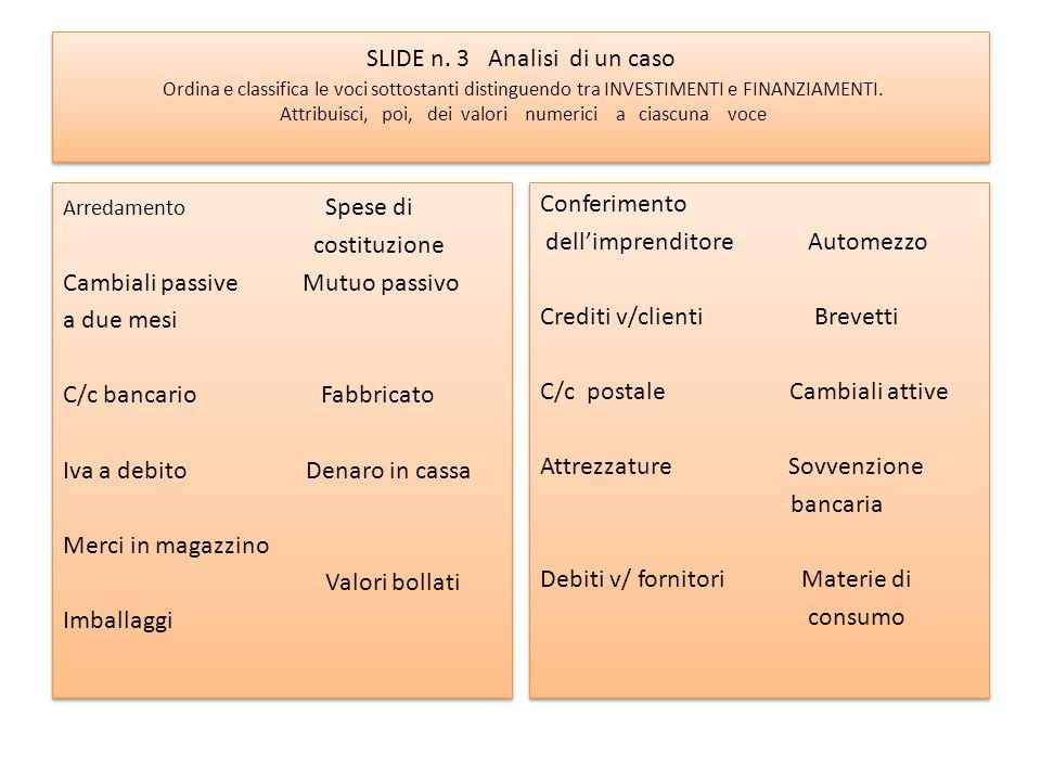 SLIDE n. 3 Analisi di un caso Ordina e classifica le voci sottostanti distinguendo tra INVESTIMENTI e FINANZIAMENTI. Attribuisci, poi, dei valori nume